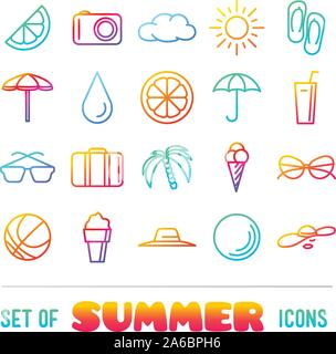 Vacation themed icons with thin lines and gradient - Stock Photo