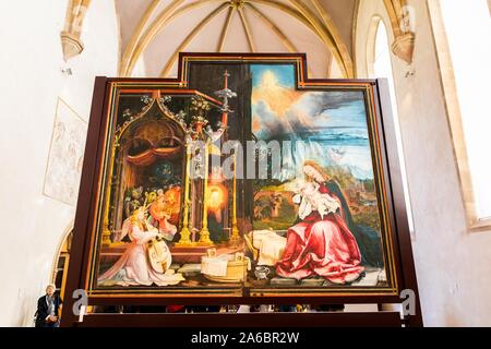 Colmar, France. 25th Oct, 2019. A panel of the Isenheim altar in the Museé Unterlinden. The altar is currently undergoing extensive restoration. Credit: dpa picture alliance/Alamy Live News - Stock Photo