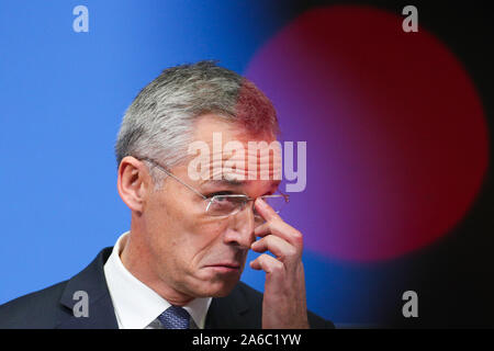 Brussels, Belgium. 25th Oct, 2019. NATO Secretary General Jens Stoltenberg gestures during the wrapping-up press conference of a two-day NATO (North Atlantic Treaty Organization) defense ministers' meeting at the NATO headquarters in Brussels, Belgium, Oct. 25, 2019. Credit: Zheng Huansong/Xinhua/Alamy Live News - Stock Photo