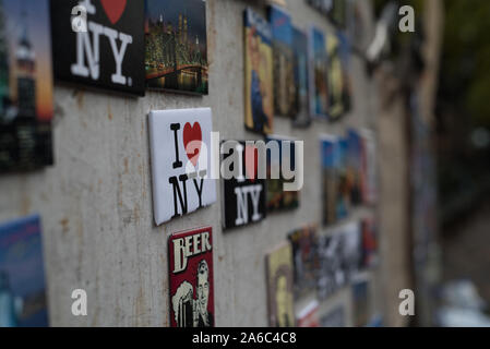 Magnets for sale at street vendor in central park - Stock Photo