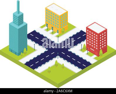 City intersection road icon, isometric style - Stock Photo