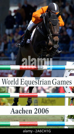 Aachen, Germany 26.8.2005,  World Equestrian Games, CHIO ;  obstacle with logo for 2006 - Stock Photo