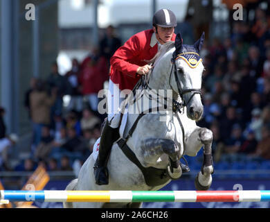 Aachen, Germany 26.8.2005,  World Equestrian Games, CHIO ;    Ludo PHILIPPAERTS / BEL Auf Parco - Stock Photo