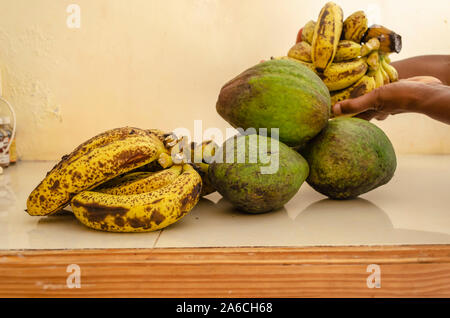 Ripe Bananas And Avocado Pears - Stock Photo