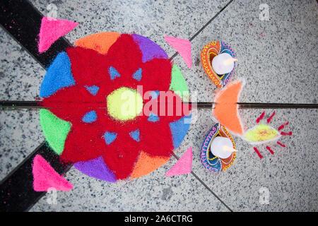 Hemel Hempstead, UK. 24th Oct 2014. Annual Hindu Diwali festival of light. - Stock Photo