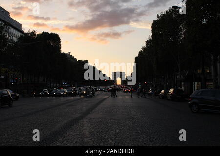 French road leading to L'arc De Triomphe - Stock Photo