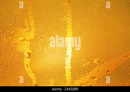 drops on the cold beer bottle and sunlight - Stock Photo