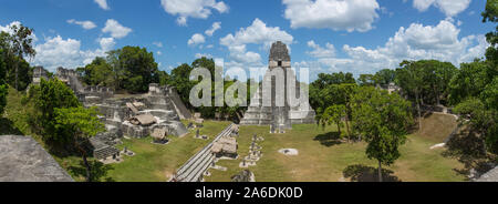 Temple I, or Temple of the Great Jaguar, on the Great Plaza at Tikal National Park, Guatemala.  A UNESCO World Heritage Site. - Stock Photo