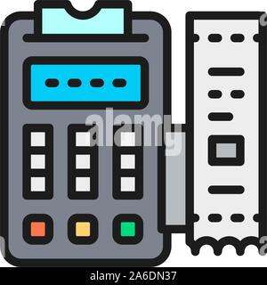 POS terminal, printed receipt, payment machine flat color icon. - Stock Photo
