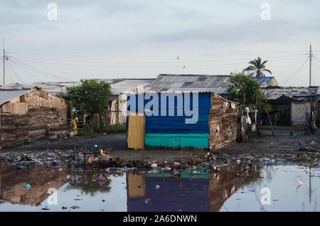 Poor houses in Cienaga Grande de Santa Marta - Stock Photo