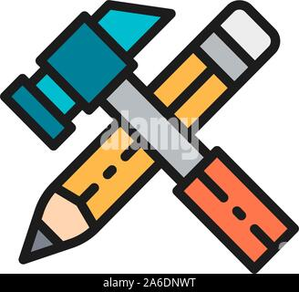 Working tools, hammer with pencil flat color icon. - Stock Photo
