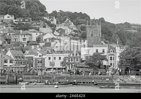 Photo Illustration: The Quay at Dartmouth seen from the River Dart. A town in the Mayflower 400 celebrations. - Stock Photo