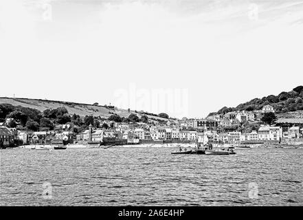 Photo illustration: Kingsland and Cawsand seen from ferry in Cawsand Bay with a sketch filter mono - Stock Photo