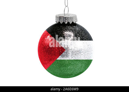 Glass Christmas ball toy isolated on white background with the flag of Palestine - Stock Photo