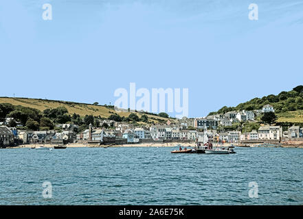 Photo illustration: Kingsand and Cawsand seen from ferry in Cawsand Bay with a sketch effect filter and colour wash - Stock Photo