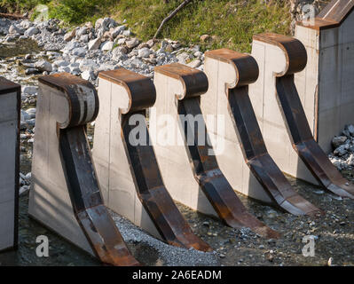 Mudflow protection barrier in a mountain stream in the Alps, in Pfunds, Tyrol, Austria - Stock Photo