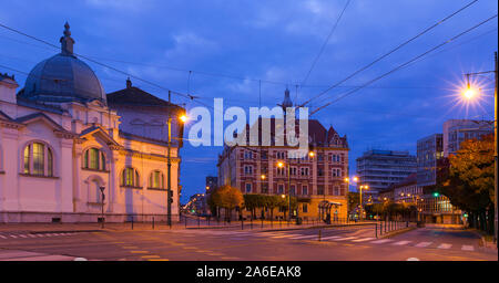 Illustration of view on streets in night light of Szeged in Hungary. - Stock Photo