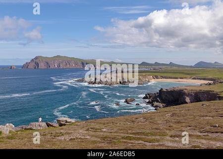 A panoramic view of a bay near Ballyferriter on Dingle Peninsula, Republic of Ireland. - Stock Photo