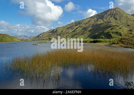 A panoramic view of Kylemore Lough in Connemara, Co. Galway,  Republic of Ireland. - Stock Photo