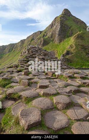 Basalt rocks at Giants Causeway in County Antrim in Northern Ireland. - Stock Photo