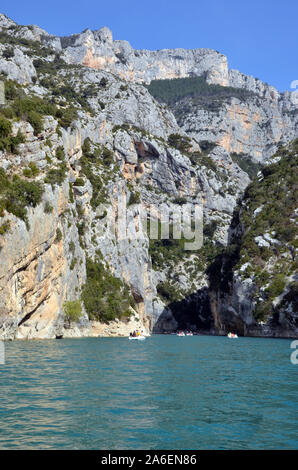 Canoe ride over the gorges of verdon in the south of France. Alpes de Haute Provence - Stock Photo