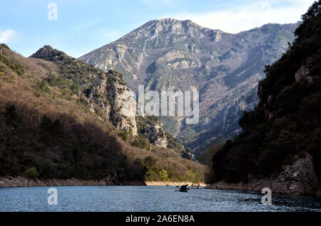 Canoe ride inside the gorges of Verdon in the south of France Alpes de Haute Provence - Stock Photo