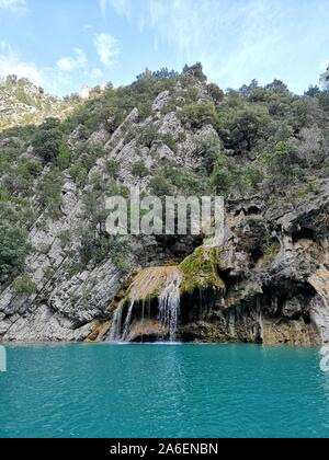 Waterfall in the Verdon gorge near the lake of Sainte Croix - Stock Photo