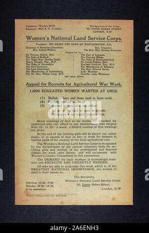 Women's National Land Service Corps. appeal for recruits, a piece of replica memorabilia from the World War One era. - Stock Photo