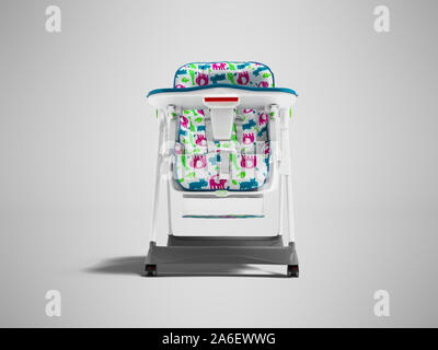 White chair with soft bedding with table for feeding the child 3d render on gray background with shadow - Stock Photo