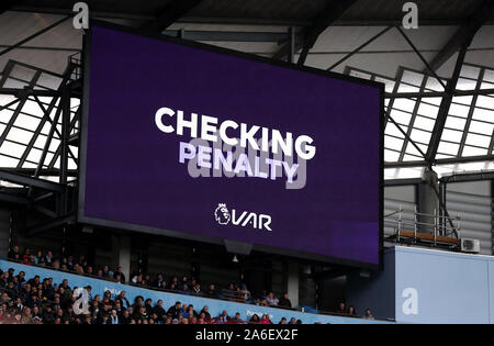 A VAR decision is displayed on the big screen as they check a penalty during the Premier League match at the Etihad Stadium, Manchester. - Stock Photo