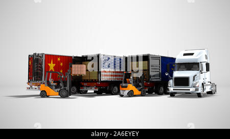 Modern concept of loading goods in trailer for transporting dump trucks 3d render on gray background with shadow - Stock Photo