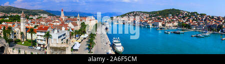 Travel and landmarks of Croatia - splendid Trogir historic town, panoramic view - Stock Photo