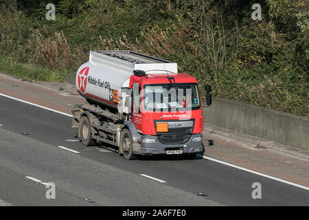 A Ribble Fuel Oils DAF fuel tanker traveling on the M6 motorway near Preston in Lancashire, UK - Stock Photo