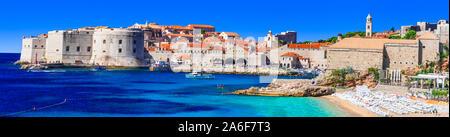 Travel and landmarks of Croatia - beautiful historic Dubrovnik town in Dalmatia, popular tourist and cruise destination