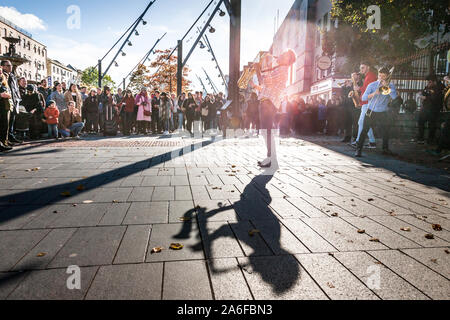 Cork City, Cork, Ireland. 26th October, 2019. Hyde Park Brass play an impromptu performance for the public on Grand Parade during the Jazz Festival in Cork, Ireland. - Credit; David Creedon / Alamy Live News - Stock Photo