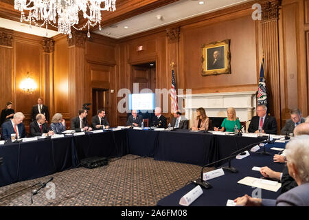 Washington, United States Of America. 23rd Oct, 2019. USA. Oct. 25, 2019. First Lady Melania Trump participates in a Member Roundtable on the Support Act Wednesday, Oct. 23, 2019, at the United States Capitol in Washington, DC People: First Lady Melania Trump Credit: Storms Media Group/Alamy Live News Credit: Storms Media Group/Alamy Live News - Stock Photo