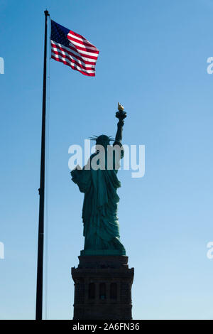 The Statue of Liberty is an iconic symbol of freedom in the United States of America, NY, USA - Stock Photo