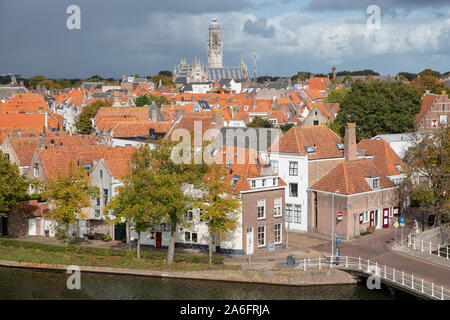 Aerial view medieval city Middelburg, the Netherlands - Stock Photo