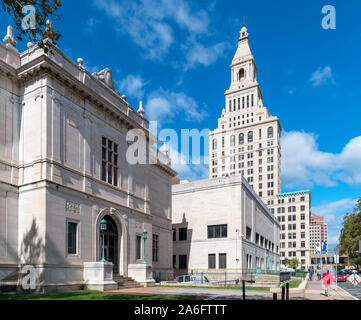 The Wadsworth Atheneum art museum looking towards the Travelers Tower on Prospect Street in downtown Hartford, Connecticut, USA