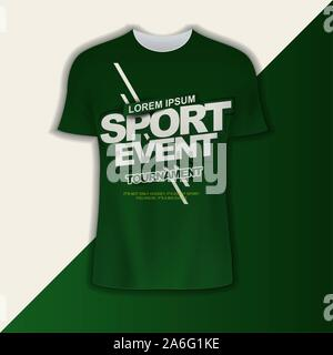 t shirt design vector sport event tournament with theme with simple layout elegant green gradient background and balance composition, editable and cus - Stock Photo
