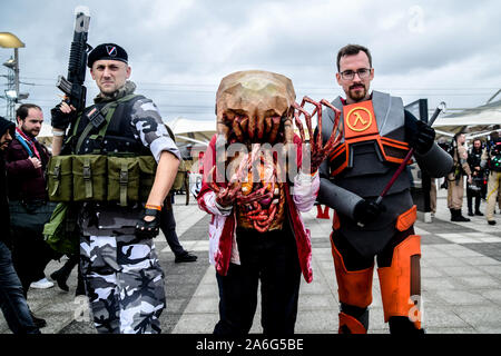 London, UK. 26th October, 2019. Cosplay fans attends the MCM Comic Con London 2019, which took place at the Excel Centre with hundreds of stall exhibition. The weekend offered comic fans the chance to dress up as their favourite characters. Credit: Picture Capital - Stock Photo