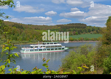 An excursion boat on Lake Bigge near Rhode, Sauerland, Northrhine Westphalia, Germany. - Stock Photo