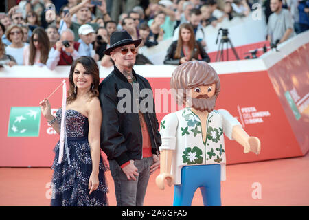 Cristina D'Avena and J-Ax attending the red carpet of Playmobil The Movie at Rome Film Fest 2019 - Stock Photo