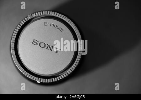 Sony E lens mount on a black background with shadow, camera gear, Sony A7iii - Stock Photo