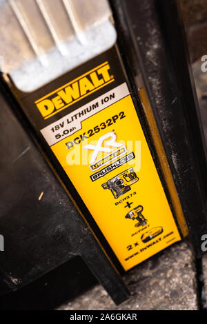 Dewalt tough system T stak box for storing drills and impact drivers and other tools - Stock Photo