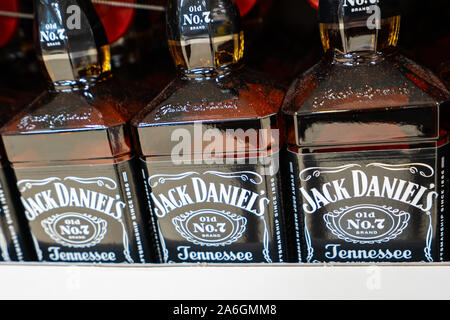 Bottles of Jack Daniels Tennessee Whiskey on sale at Christmas time - Stock Photo
