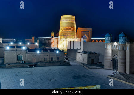 Historic architecture of Itchan Kala, walled inner town of the city of Khiva, Uzbekistan a UNESCO World Heritage Site. - Stock Photo