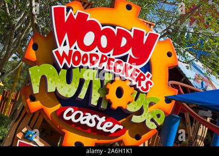 Woody Woodpecker's Nuthouse Coaster, Roller Coaster,People Entering, Universal Studios Resort, Orlando, Florida, USA - Stock Photo