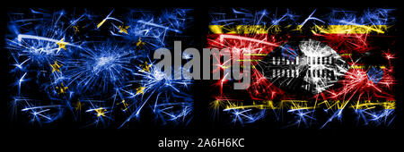 Eu, European union vs Swaziland, Swazi new year celebration sparkling fireworks flags concept background. Combination of two states flags. - Stock Photo