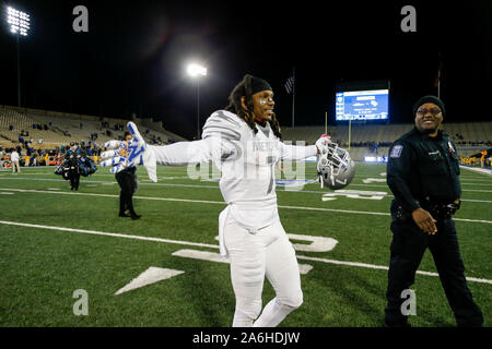 Tulsa, OK, USA. 26th Oct, 2019. Memphis player CHRIS CLAYBROOKS (7) reacts after the Tigers win the Tulsa vs Memphis game on Oct 26th, 2019 at H.A Chapman Stadium in Tulsa, OK. Credit: Shane Cossey/ZUMA Wire/Alamy Live News - Stock Photo